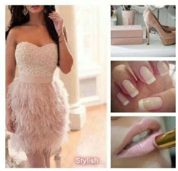 dress pink sexy cute feathers