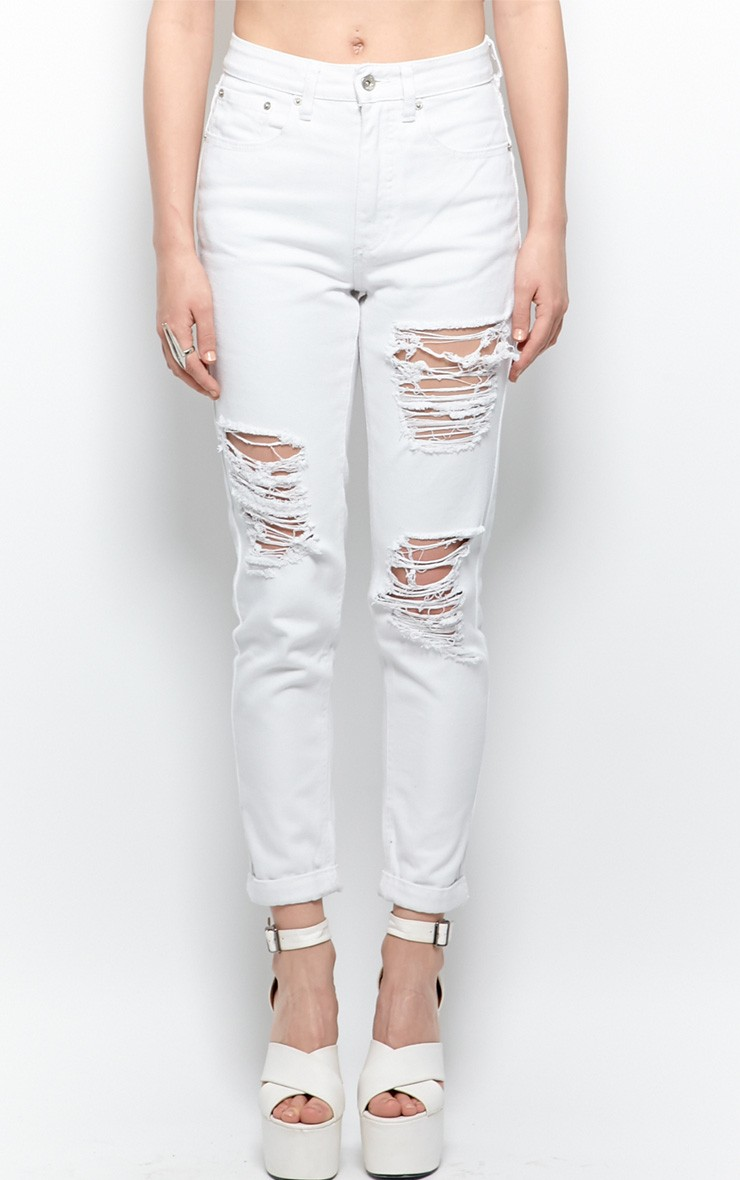 Trudy White Ripped Mom Jeans - jeans - denim - prettylittlething.com   PrettyLittleThing.com