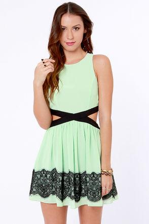 Pretty Mint Dress - Lace Dress - Cutout Dress - $46.00