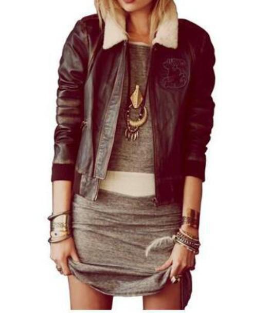 coat leather jacket fur collar grey dress bodycon dress mini dress