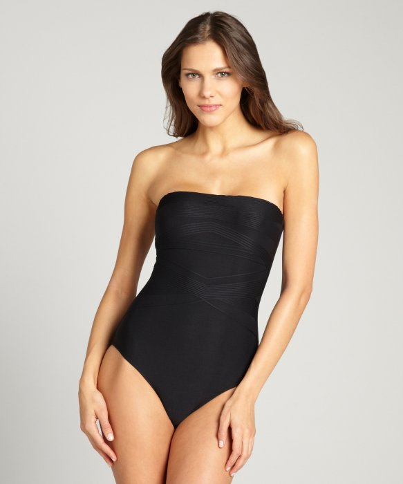 Badgley Mischka black tonal striped strapless one piece swimsuit | BLUEFLY up to 70% off designer brands