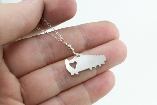 jewels necklace soccer cleat heart chain jewelry