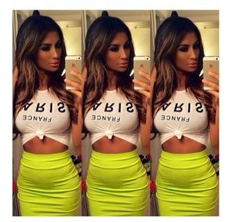 skirt high waisted neon green neon green summer outfits pencil skirt summer high waist skirts cute outfits
