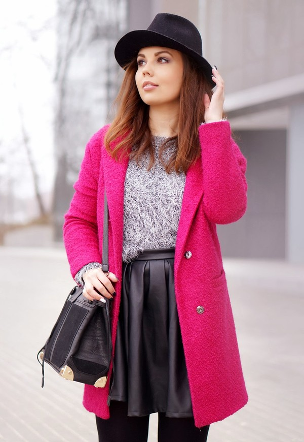 a piece of anna coat sweater skirt bag shoes hat