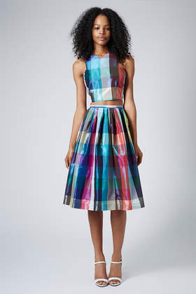 **Limited Edition Taffeta Check Crop Top and Midi Skirt - Suits and Co-ords - Clothing - Topshop USA