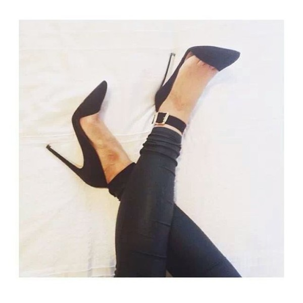 shoes heels buckles leather look leggings style fashion black white