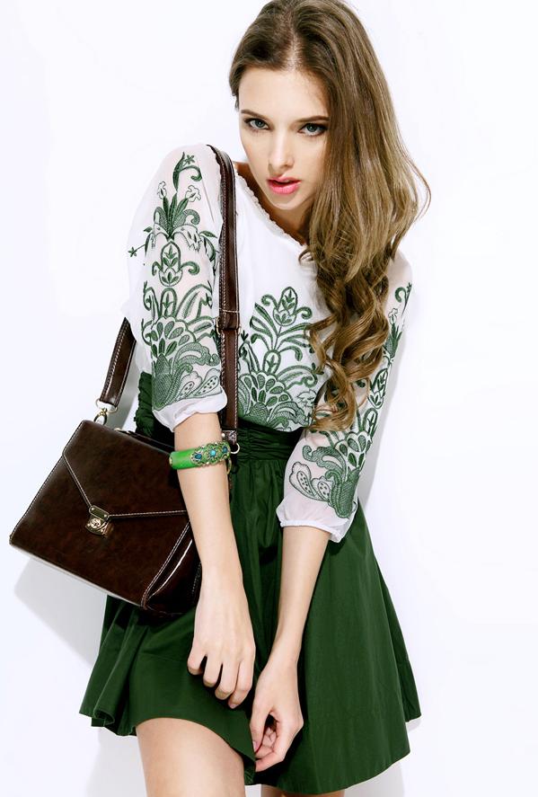 White and Green Embroidery Half Sleeve Chiffon Dress - Sheinside.com