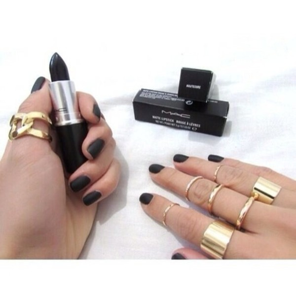 jewels gold ring nails black lipstick nail polish