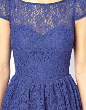 ASOS | ASOS Lace Short Sleeved Skater Dress at ASOS
