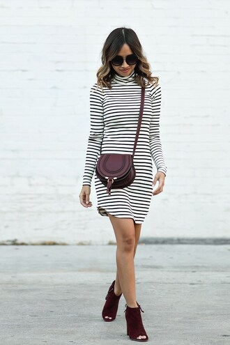 lace and locks blogger dress scarf bag shoes stripes striped dress shoulder bag purple mini dress long sleeves burgundy date outfit