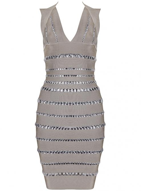 Apricot Sylvie van In Diamante Embellished Bandage Dress H355X$159