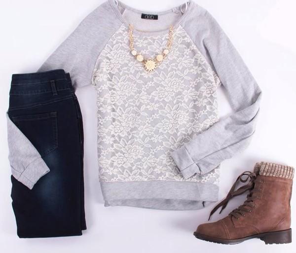 shirt lace jeans shoes jewels