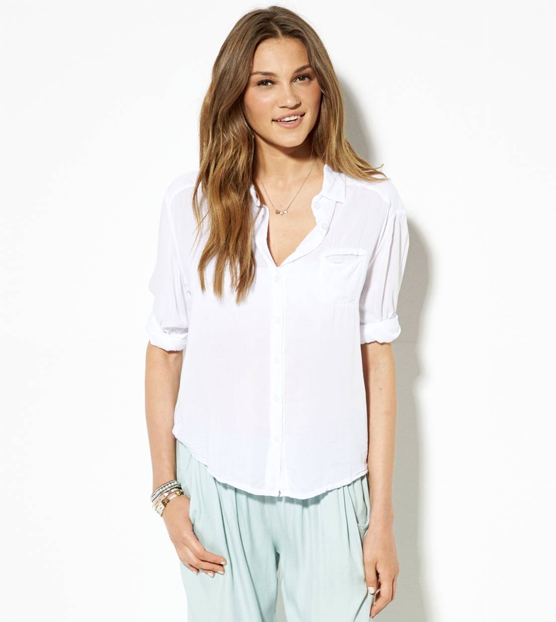 Don't Ask Why Button Down Shirt , White    American Eagle Outfitters