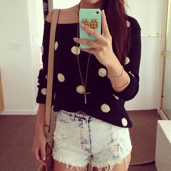 sweater polka dots sweatshirt shorts