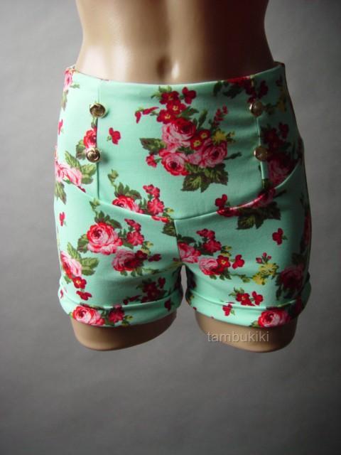Vtg Y 40s 50s Mint Green Rose Floral Print Cuffed High Waist 23 DF Shorts S   eBay