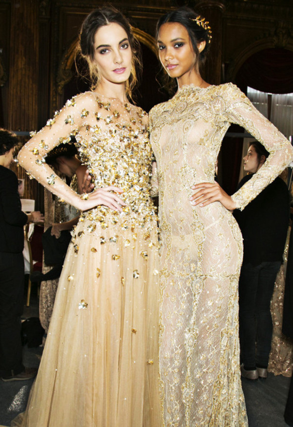dress white and gold dress sequins fashion long prom dress long sleeve dress gold