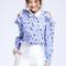 Blue cold shoulder striped cartoon printed blouse