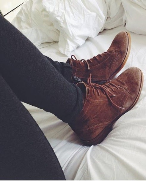 shoes brown booties lace up boots