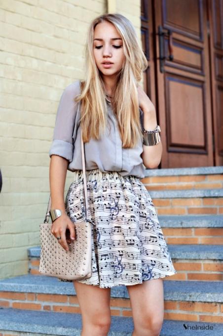 Apricot Elastic Waist Note Print Chiffon Skirt - Sheinside.com