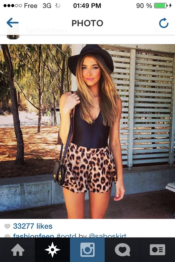 shirt black shorts leopard print skirt