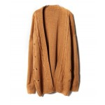 Dark Brown Knit Cardigans with Open Front Detail