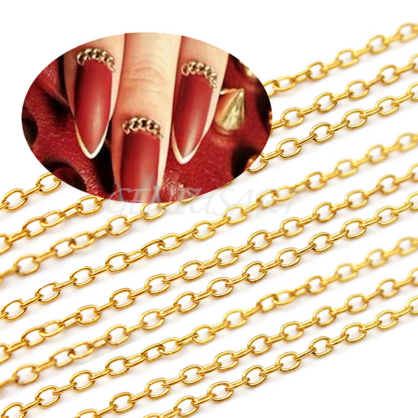 Punk Gold Acrylic Tiny Line Design DIY Decoration Nail Art Tip Long Chain 10M | eBay