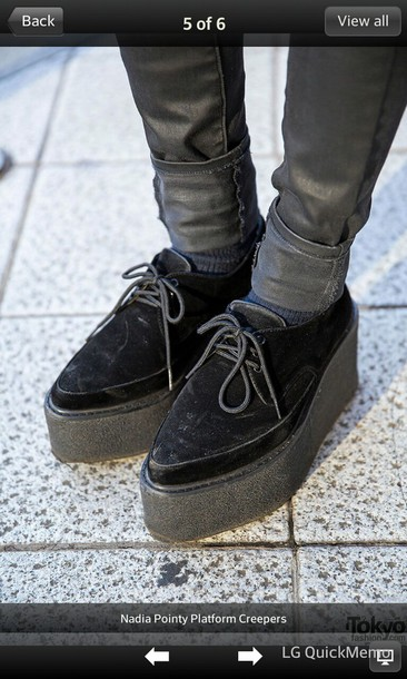 shoes creepers harajuku black shoes pointyshoes pointycreepers