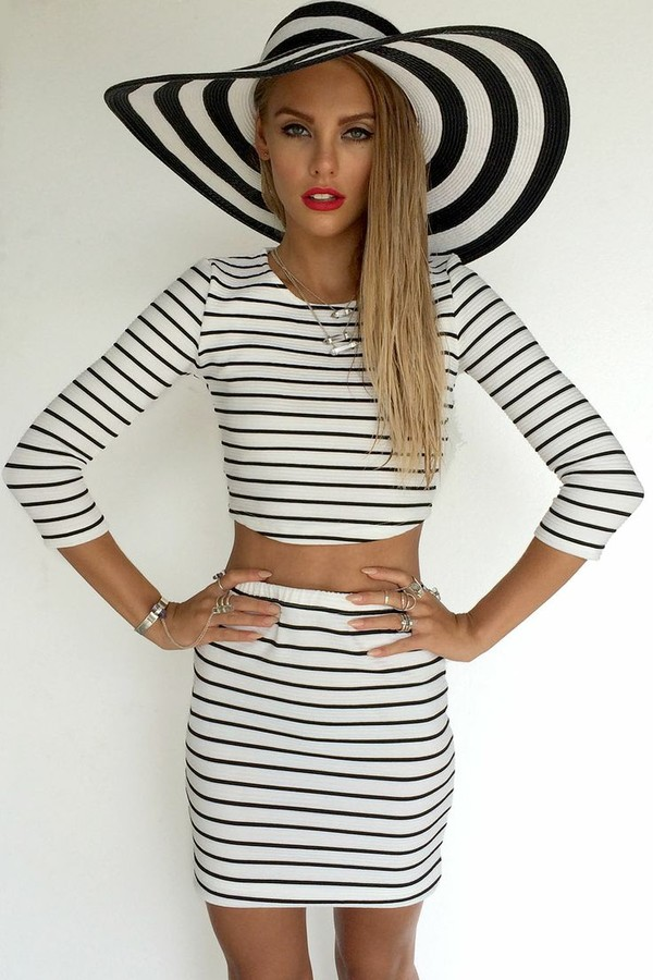 skirt striped skirt stripes black and white ustrendy