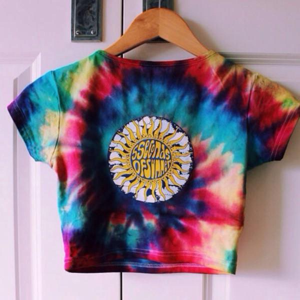 shirt tie dye 5sos crop top