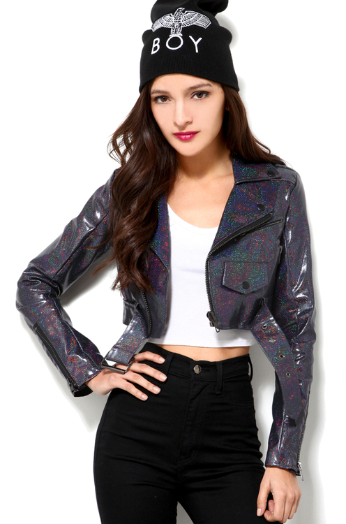 Unif Glitter Crop Jacket in Black