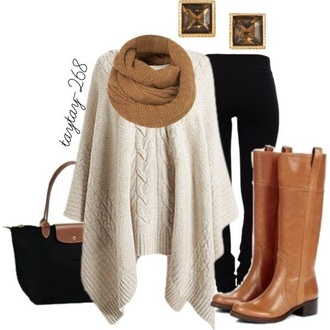 cream/taupe poncho sweater fall outfits poncho longchamp brown leather boots