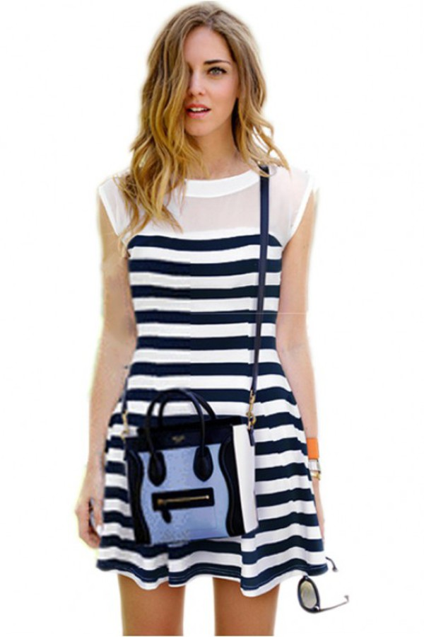 dress kcloth striped dress chiffon dress