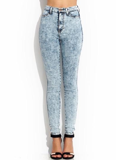high-waisted-acid-wash-jeans LTBLUE DKBLUE BLACK - GoJane.com