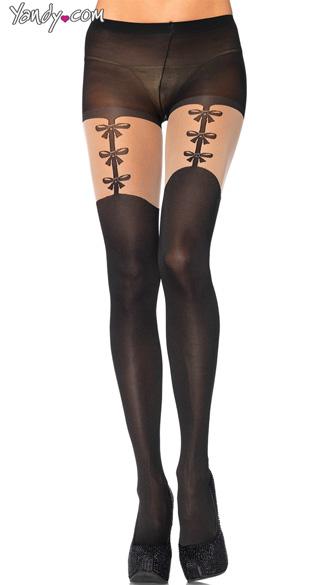 Opaque Pantyhose with Garter Print. Sexy Pantyhose, Faux Garter Belt Pantyhose