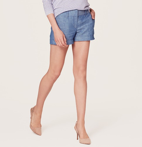 Chambray Shorts with 3 1/2 Inch Inseam | Loft