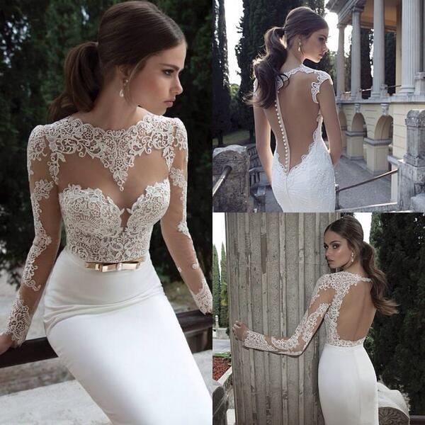 dress wedding dress lace wedding dress long sleeves pretty elegant mermaid prom dress white tight formal
