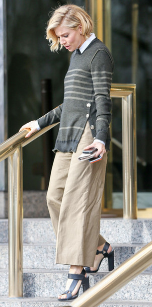 sweater sienna miller stripes culottes sandals shoes