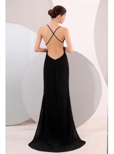 Black Plunge V-neckline Backless Evening Dress:1st-dress.com
