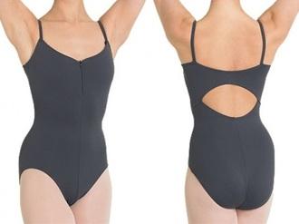 jumpsuit leotard ballet grey open back camisole ballerina zip zip-up