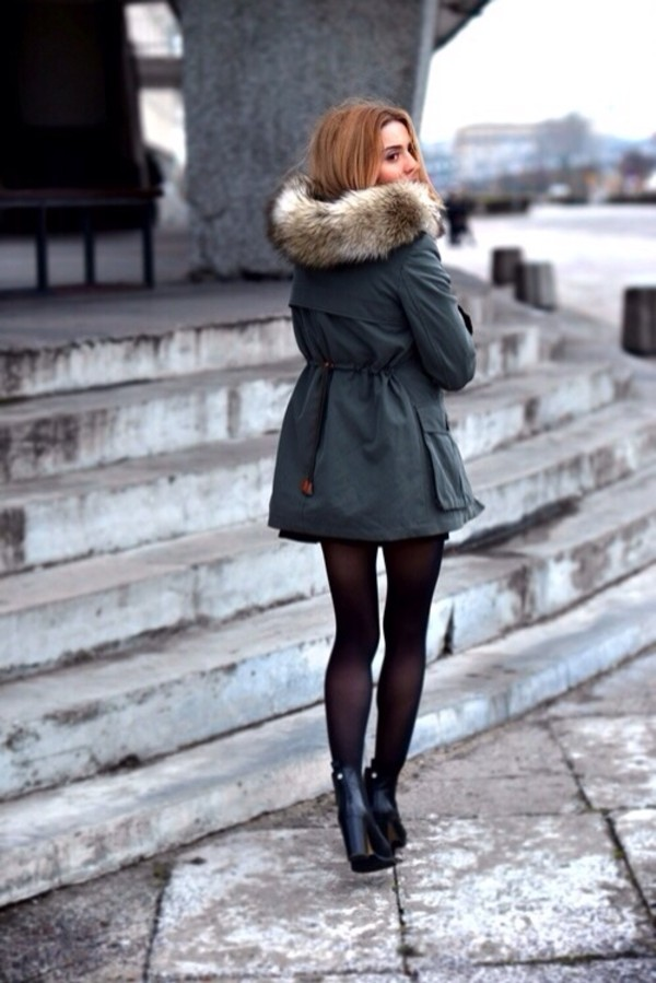 coat winter jacket navy green faux fur jacket fur trim hood green parke fur hood jacket green jacket green fashion classy girly fall outfits green kaki khaki cold snow green coat fur black shoes fur coat outside shoes black heels heels black collants