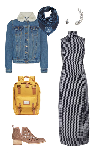 jacket denim jacket shearling jacket denim shearling jacket turtleneck dress long dress striped dress patterned dress yellow bag backpack back to school college ankle boots bookbag silk scarf kenzo ear cuff outfit idea cute outfits low boots pearl earrings tommy hilfiger gigi x tommy dress scarf jewels bag shoes