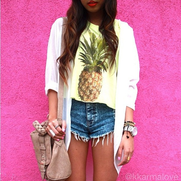 shirt pineapple yellow blouse