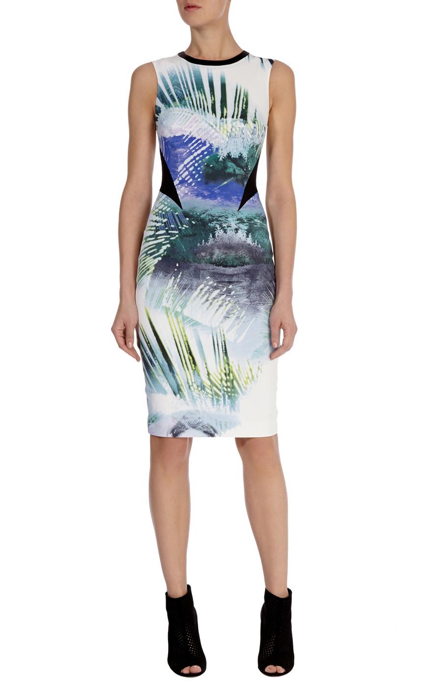 Tropical print shift dress | Luxury Women's salenl | Karen Millen