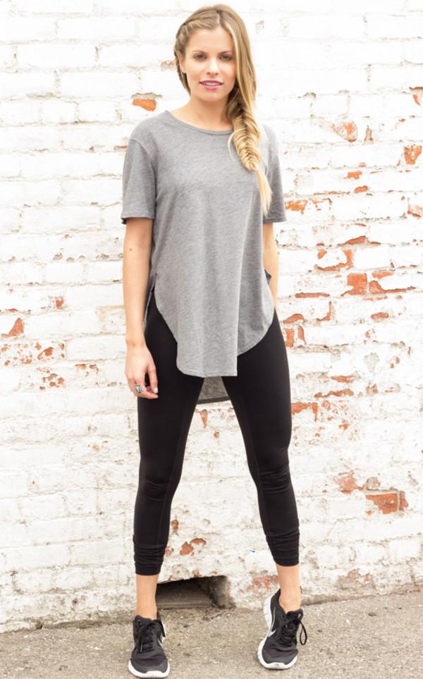 shirt t-shirt grey workout t-shirt