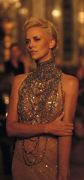jewels necklace choker necklace dress sequins glitter dress gold charlize theron dior