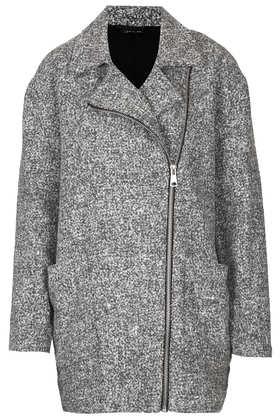 Grey Textured Ovoid Coat - Jackets & Coats  - Clothing  - Topshop