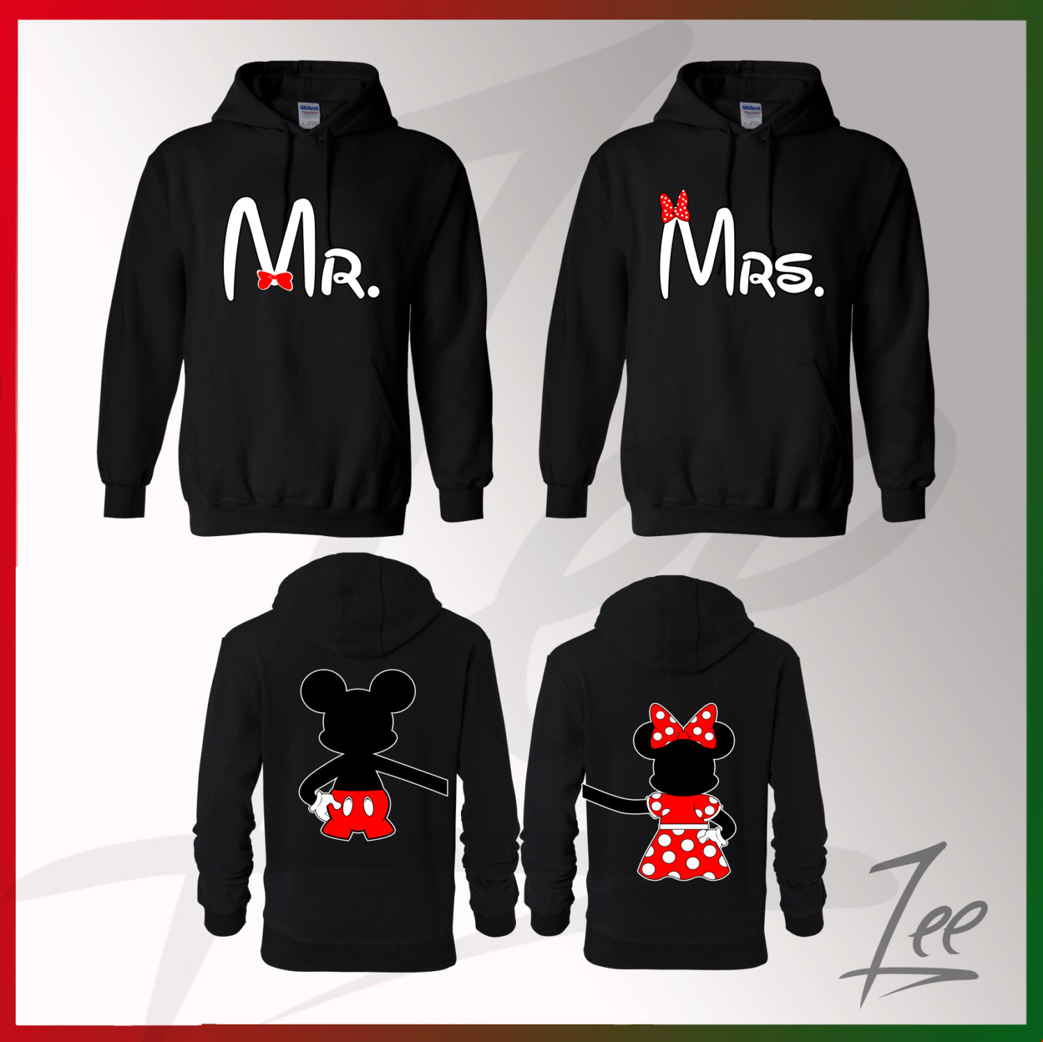 couple matching mickey mouse mr minnie mrs hoodies. Black Bedroom Furniture Sets. Home Design Ideas