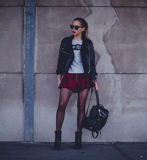 kenza jacket t-shirt skirt bag shoes