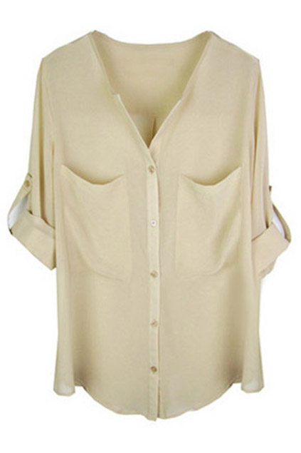 ROMWE | ROMWE Asymmetric V-neck Pocketed Apricot Chiffon Shirt, The Latest Street Fashion