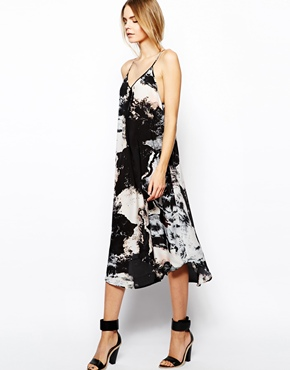 Aryn K | Aryn K Printed Silk Maxi Dress with Uneven Hem at ASOS